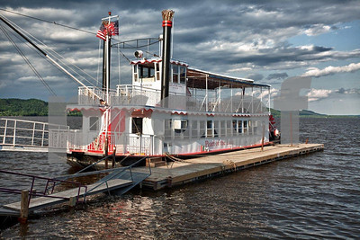 The paddlewheeler, Pearl of the Lake, docked in lake city, MN.