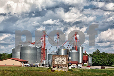 Grain elevators in Planview, MN.