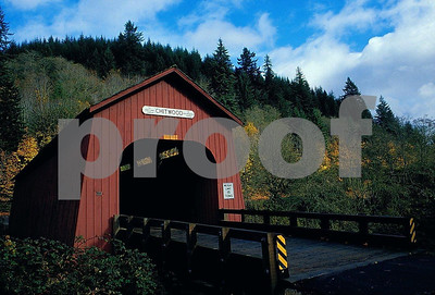 Chitwood covered bridge in Oregon Coast Range. 1