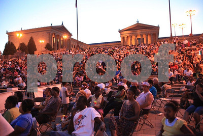 Philadelphia Art Museum, watching 'Rocky' movie on outdoor screen in summer