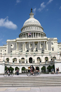 Cyclist tour the Capitol campus.