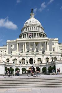 Cyclist tour the Capitol campus.