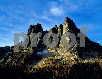 Liberty Bell Mountain in the fall at Washington Pass along the North Cascades Highway