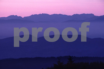 Coast Range at sunset from Capital Peak, Olympia, WA