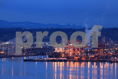 The Port of Seattle viewed from Queen Anne Hill at sunrise.