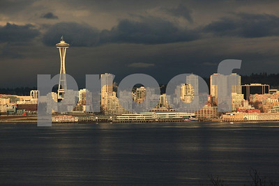 Seattle skyline at dusk from Hamilton Park in West Seattle.