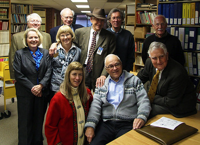 UAH Archive visitors and staff: Back: Keith Hollingsworth, John Lienhard, Gary Glover, David Hanning Middle: Hiedi Collier, Anne Coleman, Dave Christensen Front: Jackie Dannenberg, Julius Bran, Fred Ordway