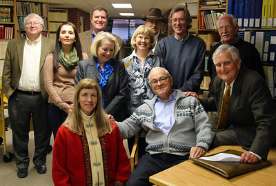 UAH Archive visitors and staff: Back: Keith Hollingsworth, David Moore, Dave Christensen Middle: Monika Sayar, Heidi Collier, Anne Coleman, Gary Glover, David Hanning Front: Jackie Dannenberg, Julius Bran, Fred Ordway