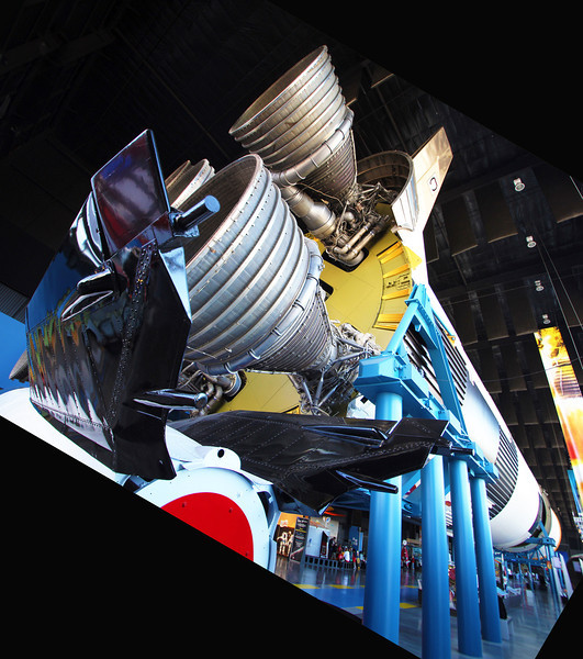 The Saturn 5 Rocket with V2 tailfins in the foreground