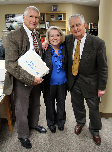 UAH Archive visitors Dave Christensen, Heidi Collier, and Fred Ordway