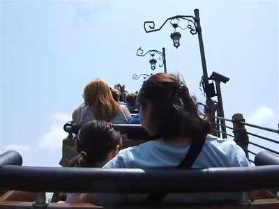 Riding the Flying Unicorn roller coaster