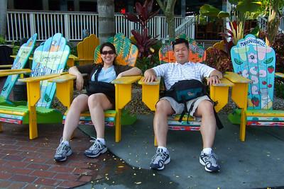 In front of Jimmy Buffett's Margaritaville Restaurant