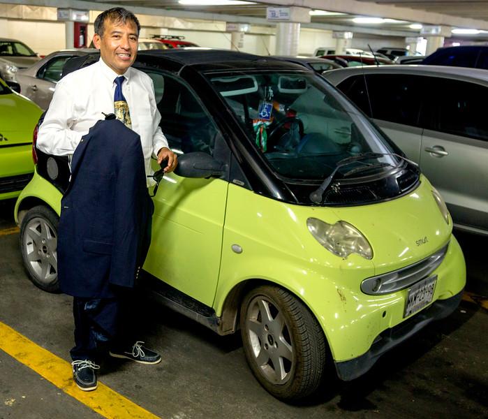 Abel Hernandez by his Smart Car