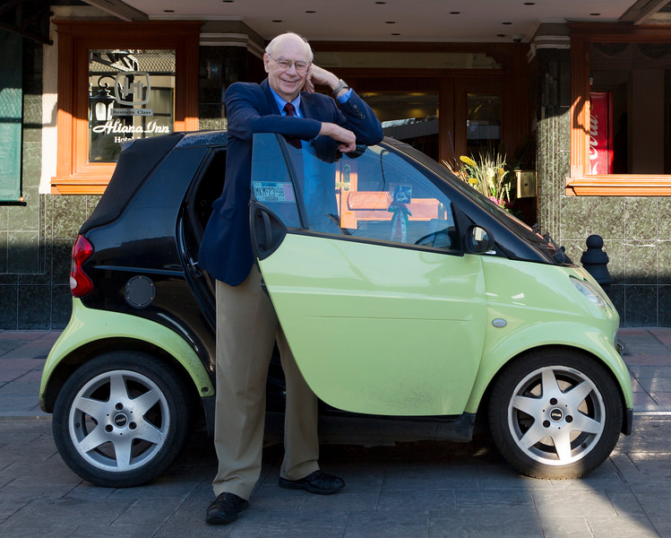 John Lienhard, about to get into Abel Hernandez' Smart Car
