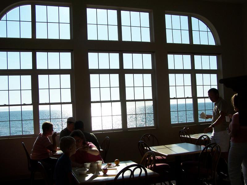 Breakfast area overlooking Lake Superior at Munising's AmericInn.