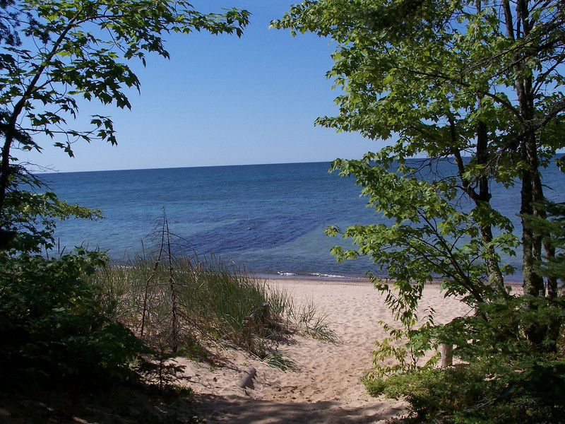 View down from the 1.5 mile trail to the beach and one of the shipwrecks.