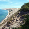 300 ft. sand dunes at Log Slide Overlook. Mike & Cinnamon walking the trail along the dune in the distance.