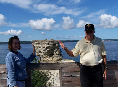 Cinnamon and Mike holding up the remaining turret of Miners Castle.