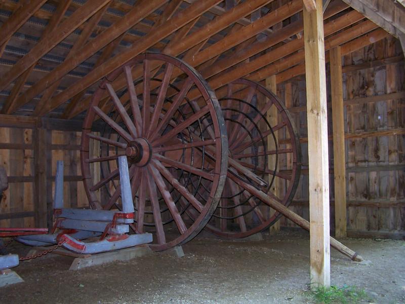 Katydid- a set of two 10' to 14' high logging wheels