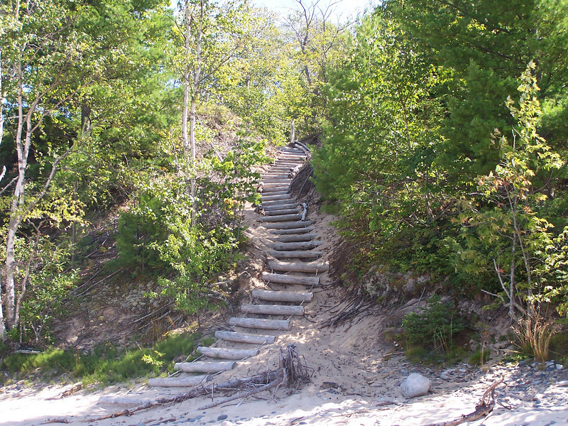 Stairway from the beach to the lighthouse. This was the worst part of the hike!