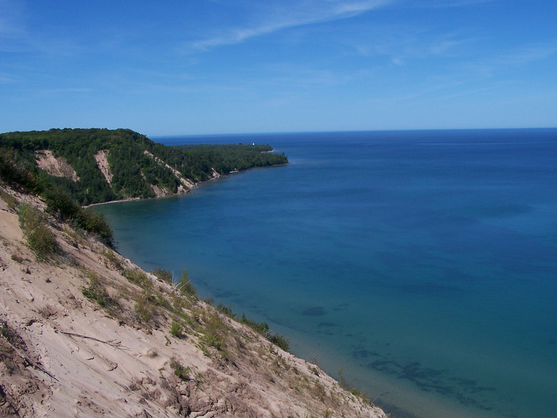 View from Log Slide of the dunes and Au Sable Lighthouse