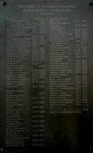 Past Pastors from the beginning - Domkyrka - Uppsala Sweden http://en.wikipedia.org/wiki/Uppsala_Cathedral