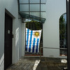 The flags were out as Uruguay was playing in the World Cup that day.