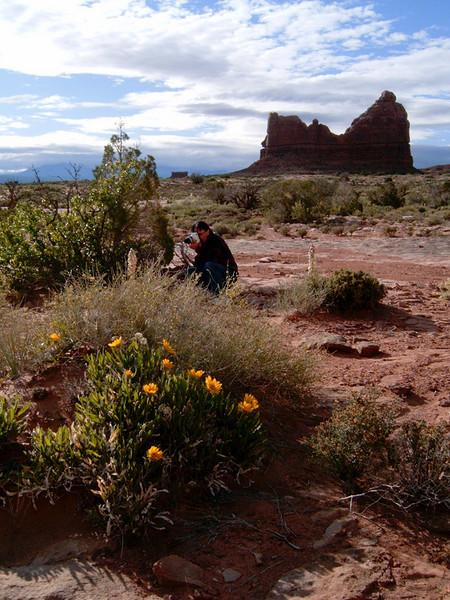 Gary taking photos, Arches National Park, Utah. Photo by Rita.