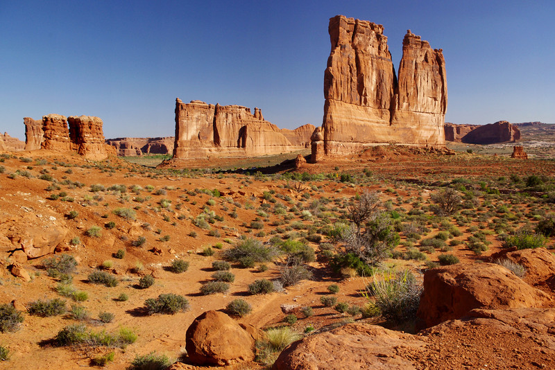 Distant view of the Tower of Babel and The Organ formations; Arches National Park, Utah.