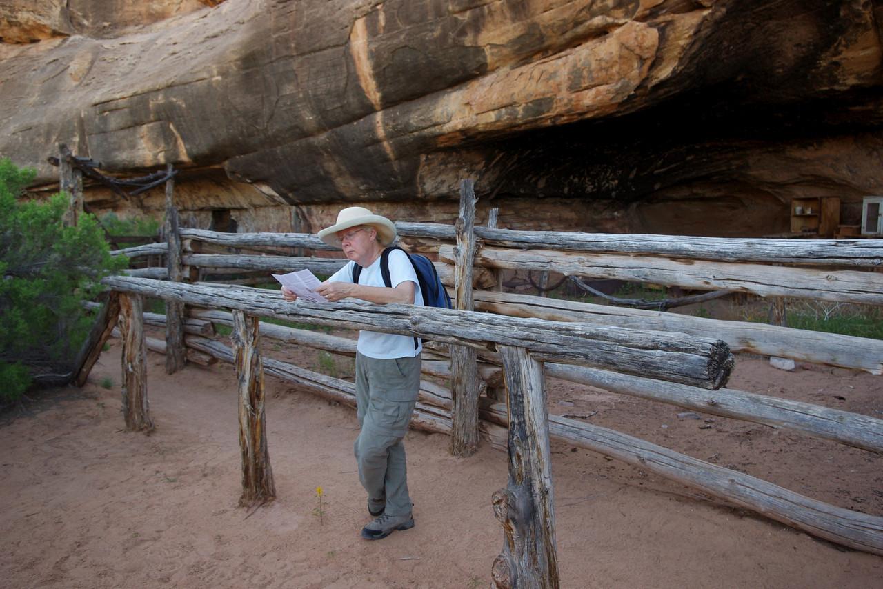 Rita at the old cowboy camp, Cave Spring Trail, Canyonlands National Park, Utah.