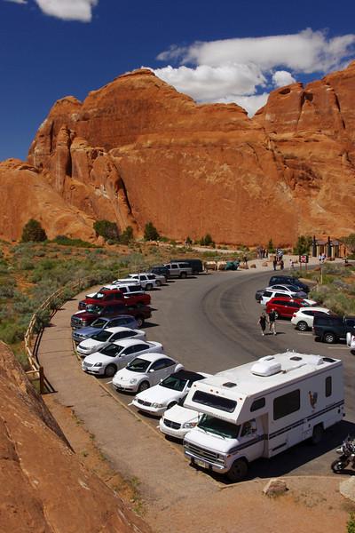 Parking lot, Devil's Garden area, Arches National Park, Utah.