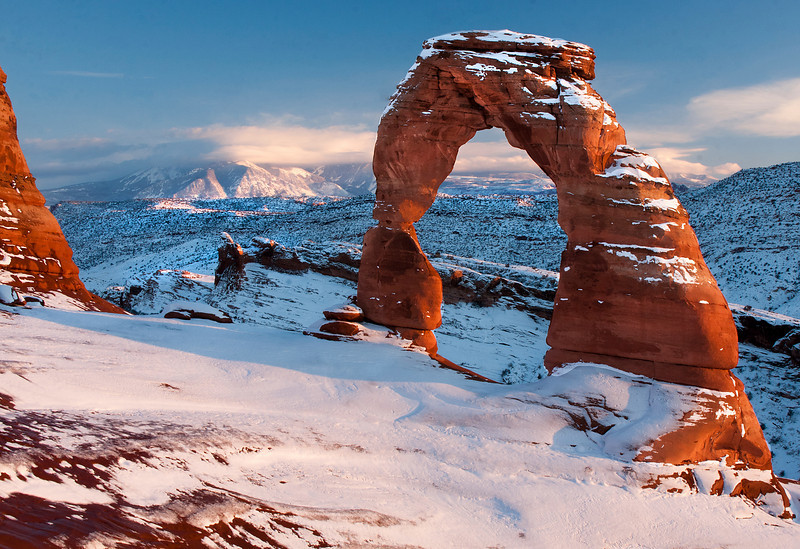 Delicate Arch approaching sunset.