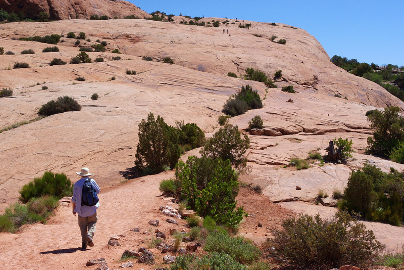 Rita on the trail to Delicate Arch; Arches National Park, Utah.