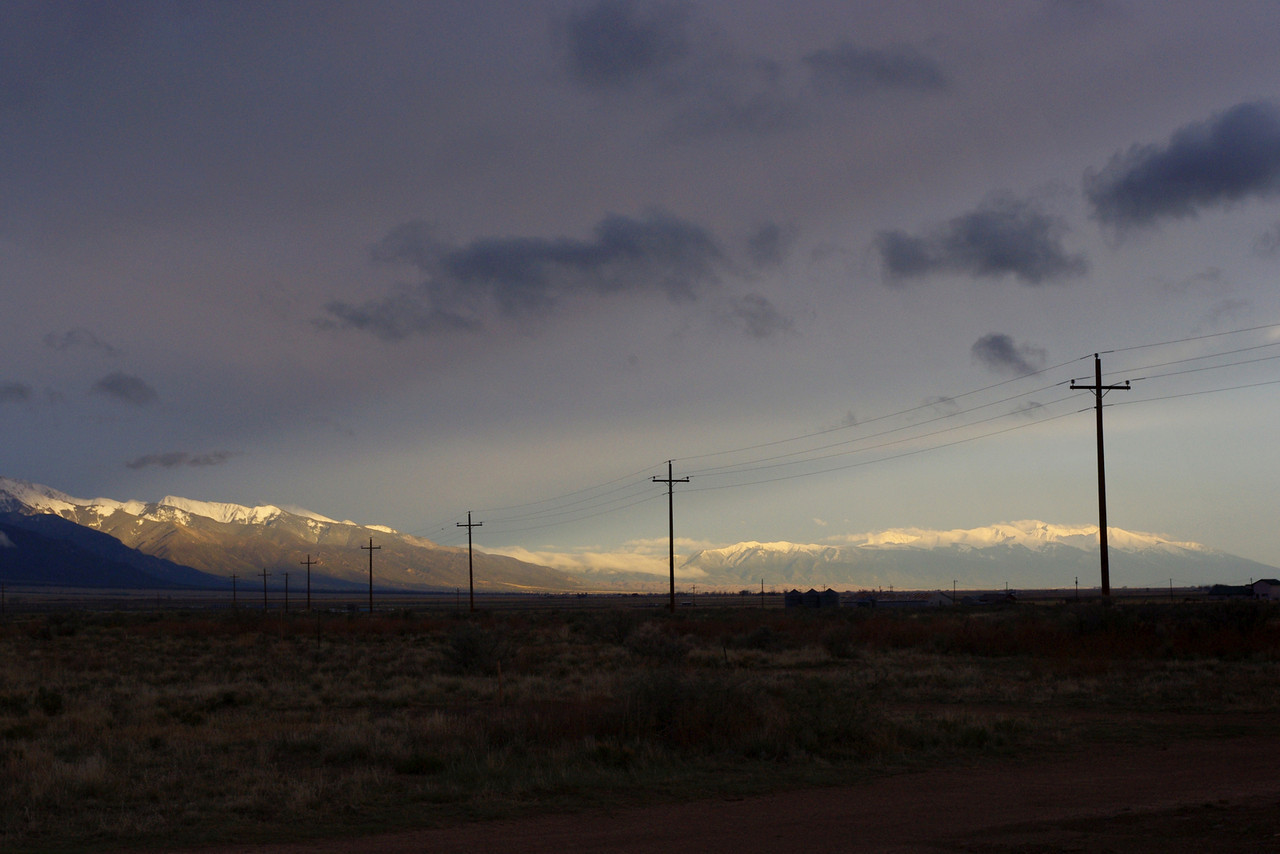 View of the Sangre de Cristo Mountains, from Joyful Journey Hot Springs, San Luis Valley, Colorado.