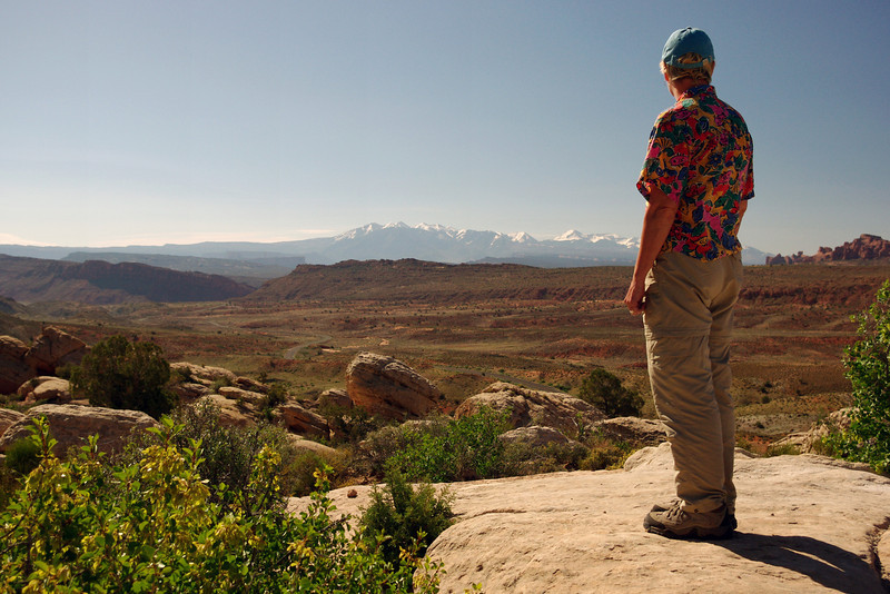 Rita, viewing the distant La Sal Mountains.