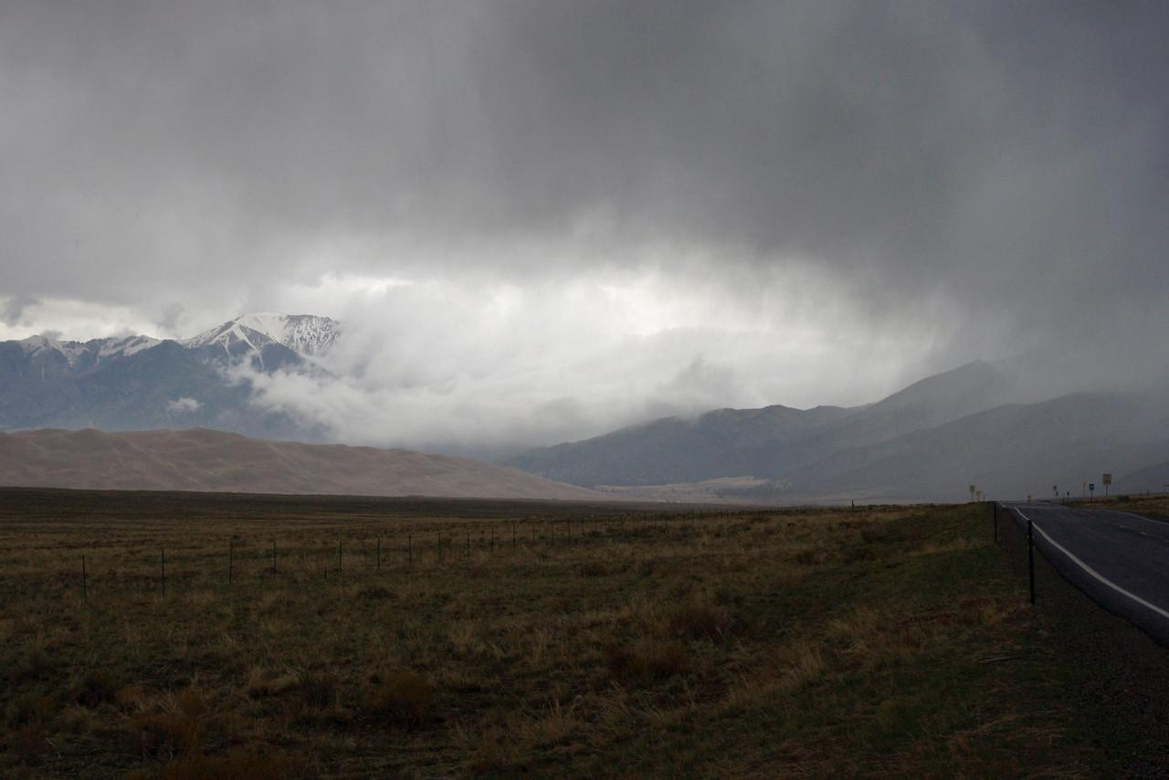 Weather over the Sangre de Cristo Mountains, San Luis Valley, Colorado.