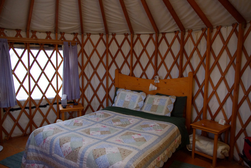Inside our yurt at Joyful Journey Hot Springs, San Luis Valley, Colorado.