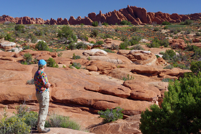Rita viewing the fins from the Salt Valley Wash Road; Arches National Park, Utah.