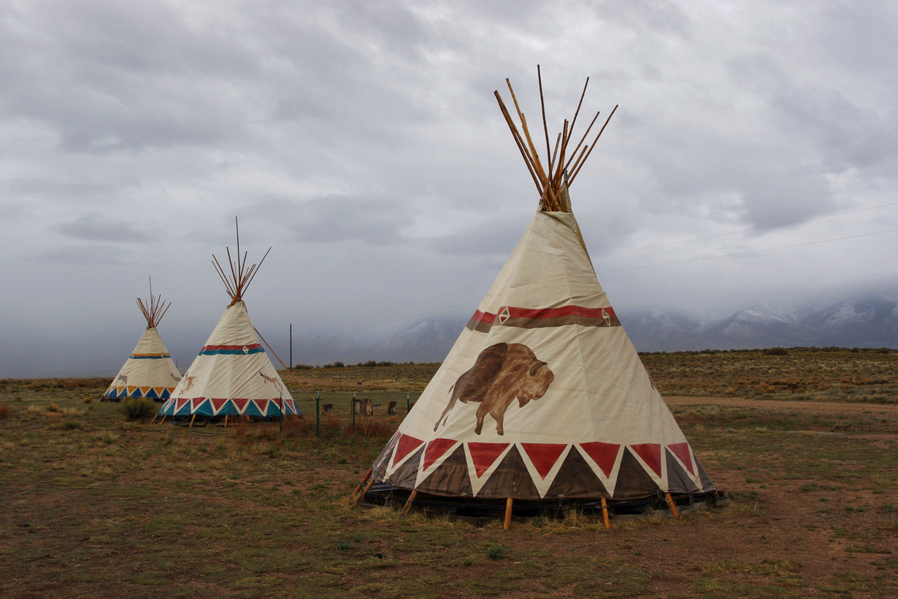 Tipis (for rent) at Joyful Journey Hot Springs, San Luis Valley, Colorado.