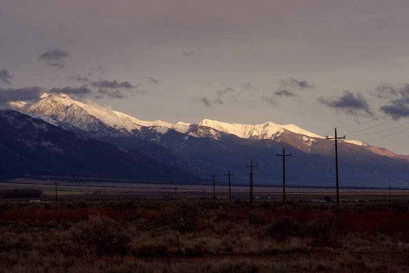 View of the Sangre de Cristo Mountains, from Joyful Journey Hot Springs, San Luis Valley, Colorado.