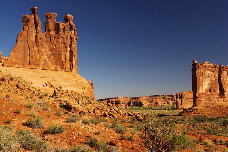 The Three Gossips formation; Park Avenue area, Arches National Park, Utah.