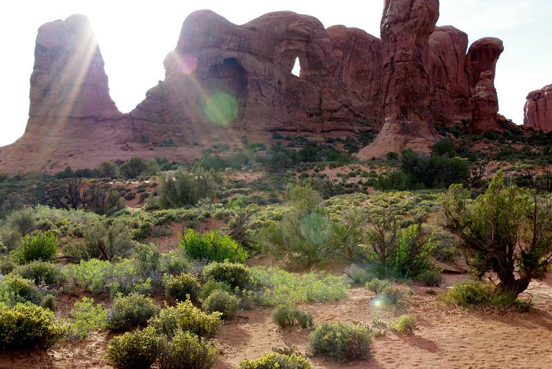 Landscape with rocks; Double Arch; Arches National Park, Utah.