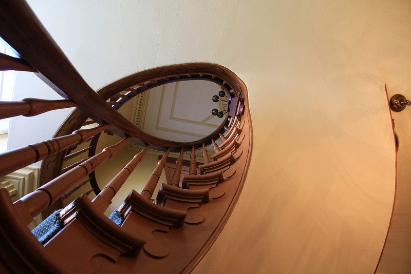Looking up the stairs.