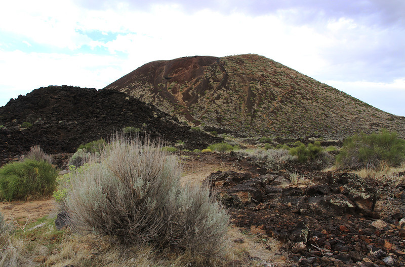 The cinder cone and lava rock.