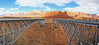Panorama of both spans of the bridge at Lee's Ferry.  The Vermilion Cliffs at back.