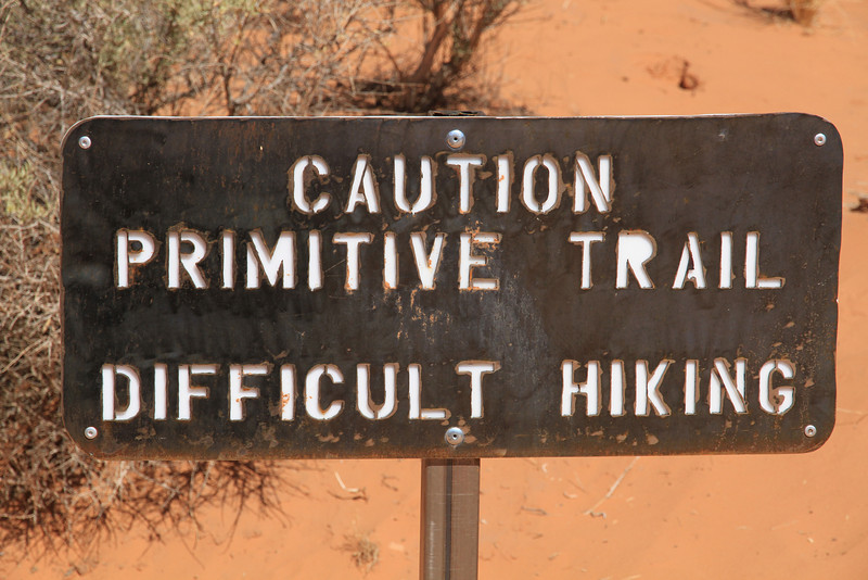 Trail marker at the start of the trail to Partition Arch & Navajo Arch.  It was accurate.