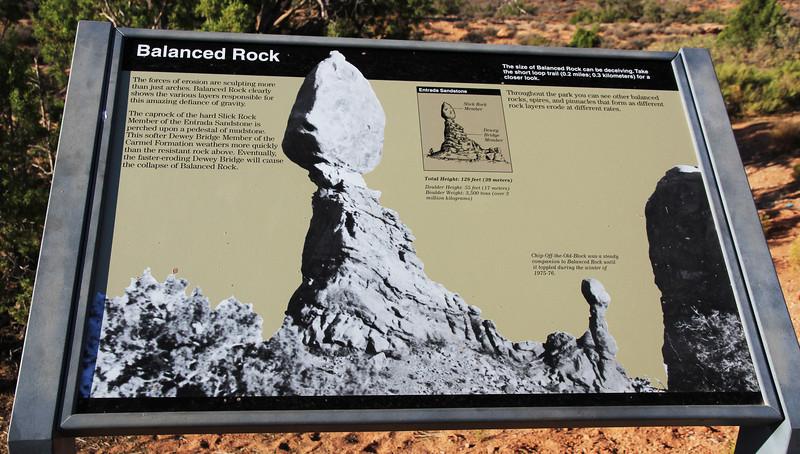 Balanced Rock information board.