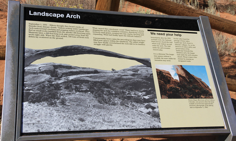 Landscape Arch sign board.
