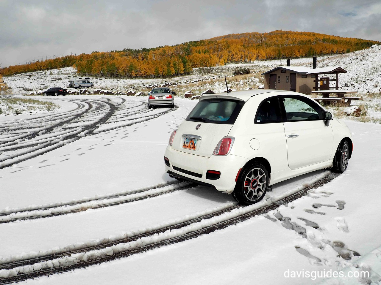 Our little rental car [Fiat] at overlook above Boulder, Utah