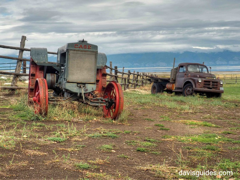 Old tractor and truck at Fielding Garr Ranch, Antelope Island, Utah